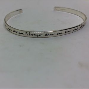 Jewelry - Inspirational quote sterling cuff bracelet